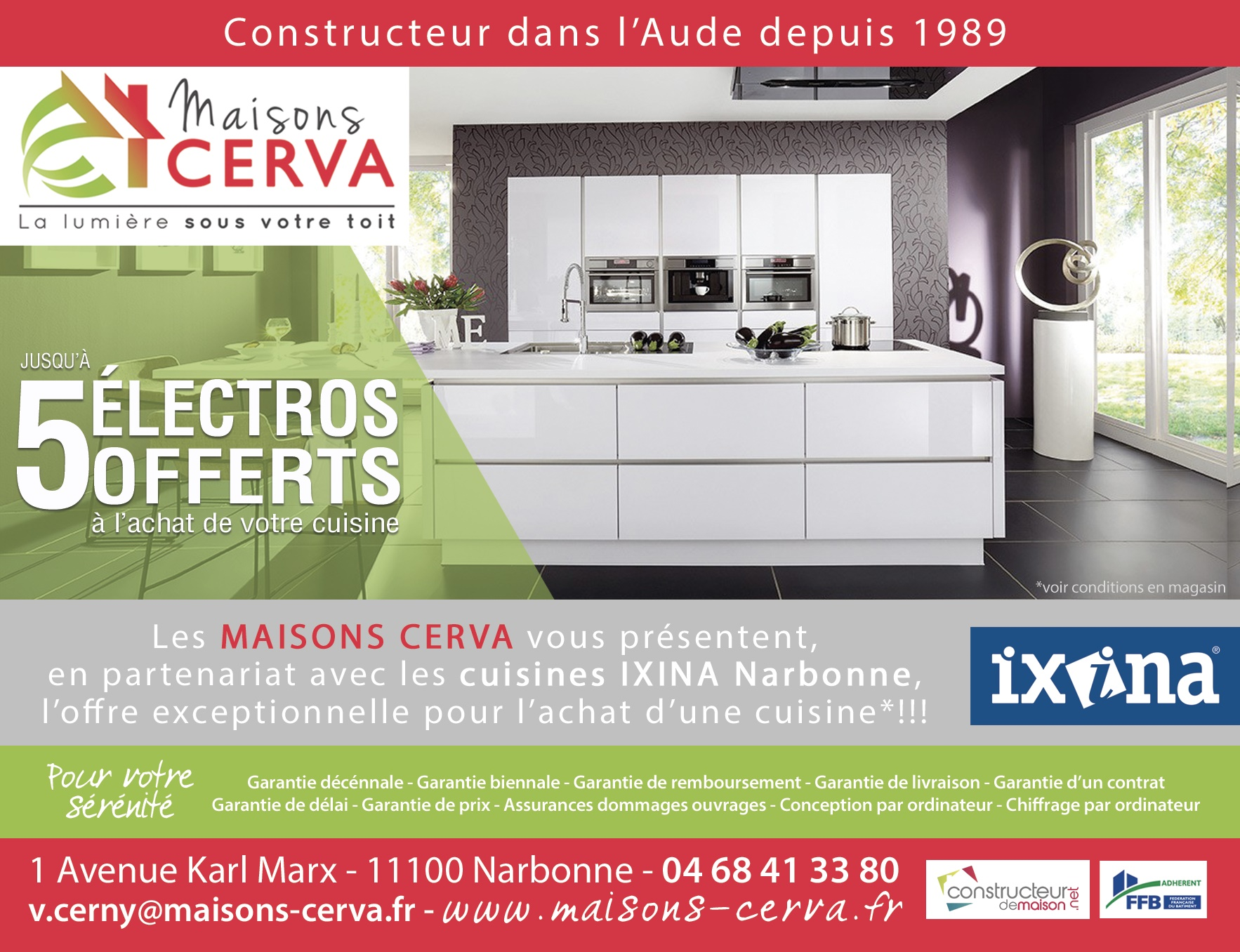 actualit constructeur maisons cerva partenariat avec les cuisines ixina univia. Black Bedroom Furniture Sets. Home Design Ideas