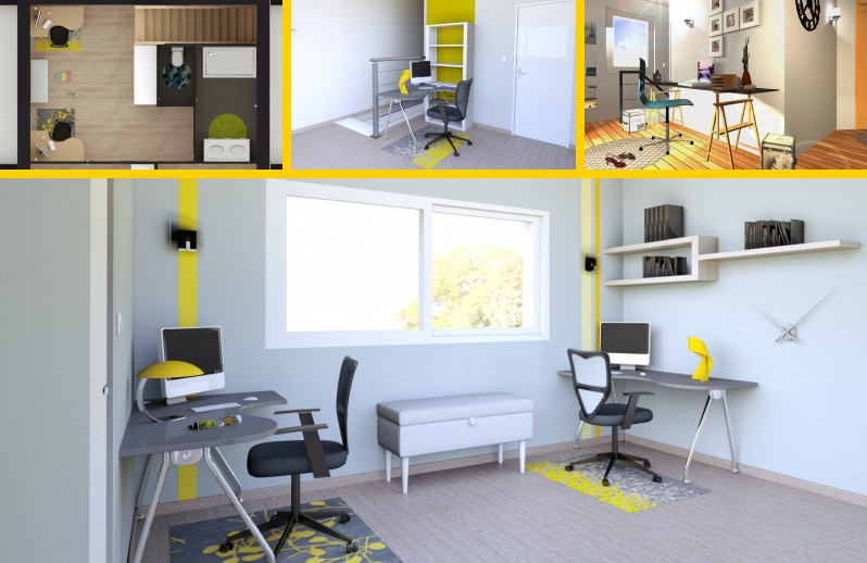 astuces et couleurs palier am nag les jaunes d coration. Black Bedroom Furniture Sets. Home Design Ideas