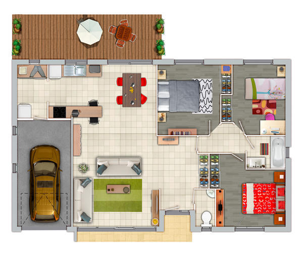 Plan maison 3 chambres garage for Plan maison en l 3 chambres garage