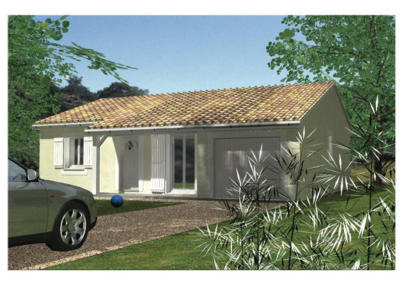 Simple maison de plain pied chambres et garage with for Modele maison simple