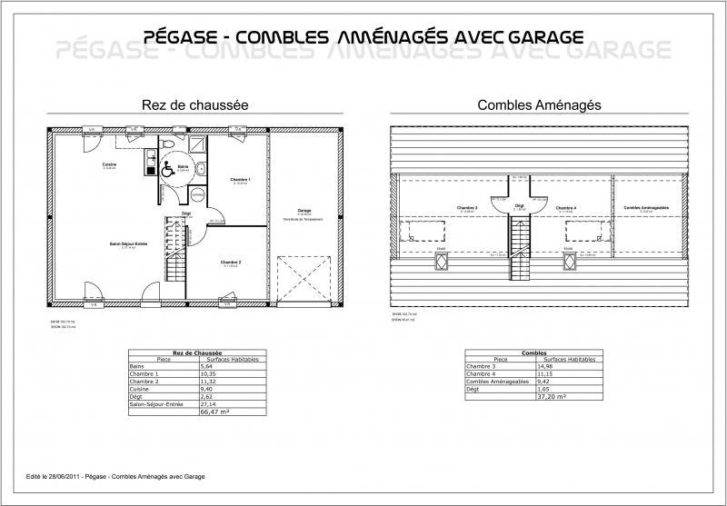 Modele maison p gase combles am nag s avec garage cgie for Plan de maison avec combles amenages