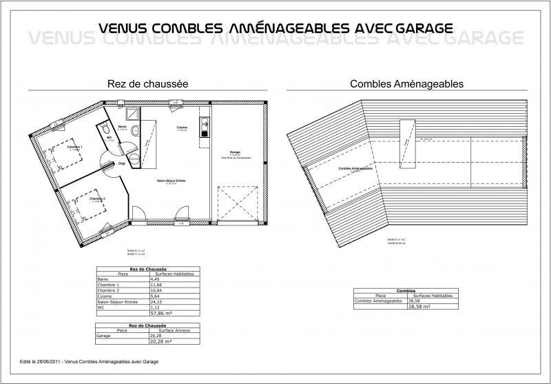 Modele maison venus combles am nageables avec garage for Plan de maison avec combles amenages